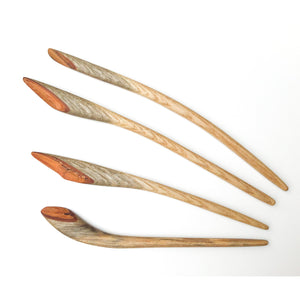 Live Edge Sassafras Wood Shawl & Sweater Pins - Wooden Hair Pins