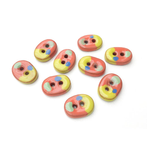 Multicolored Ceramic Buttons - Small Oval Ceramic Buttons - 3/8