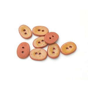 "Golden-Brown Ceramic Buttons - Small Oval Ceramic Buttons - 3/8"" x 9/16"" - 8 Pack (ws-90)"