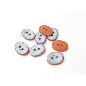 "Speckled Blue Ceramic Buttons - Small Oval Ceramic Buttons - 3/8"" x 9/16"" - 8 Pack"