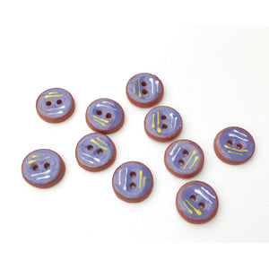 "Decorative Blue Ceramic Buttons - Small Round Ceramic Buttons - 1/2"" - 10 Pack"