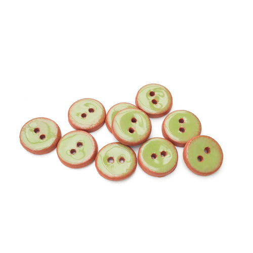 Olive Green Ceramic Buttons - Small Round Ceramic Buttons - 1/2
