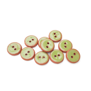 "Olive Green Ceramic Buttons - Small Round Ceramic Buttons - 1/2"" - 10 Pack"