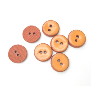 "Orange Ceramic Buttons - Small Round Ceramic Buttons - 1/2"" - 7 Pack"