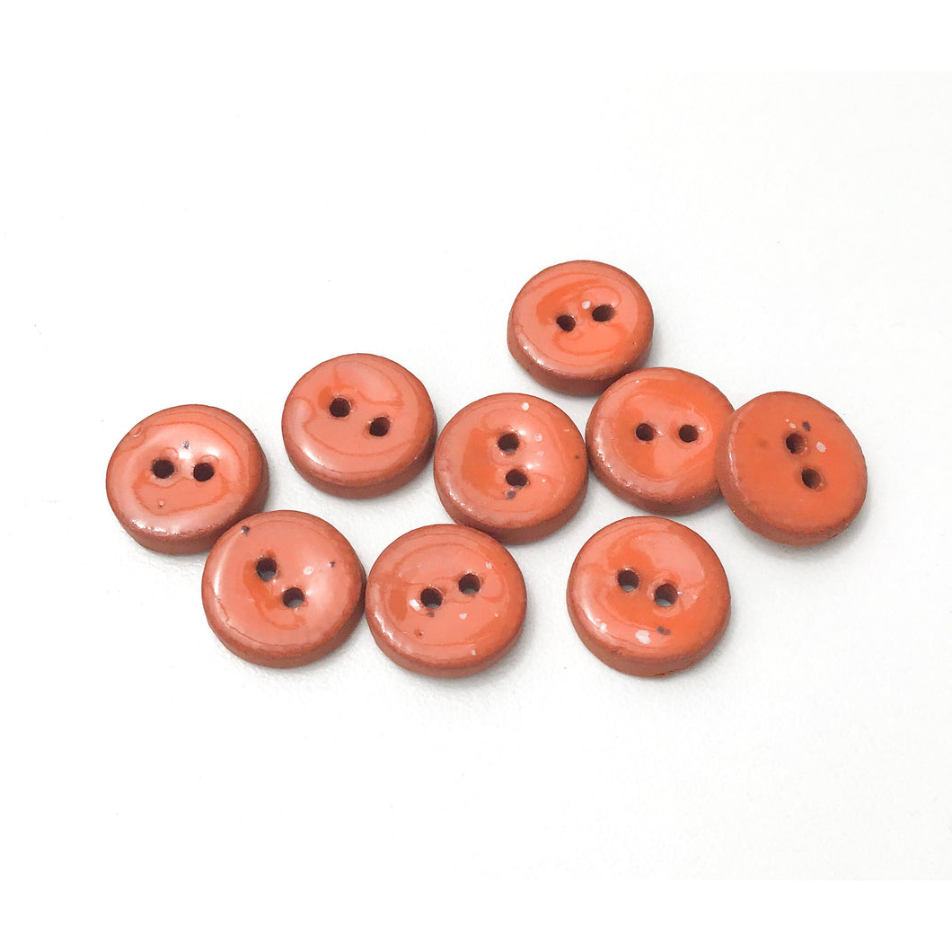Speckled Deep Orange Ceramic Buttons - Small Round Ceramic Buttons - 1/2