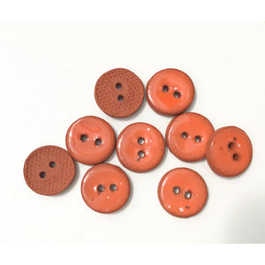 "Speckled Deep Orange Ceramic Buttons - Small Round Ceramic Buttons - 1/2"" -9 Pack"