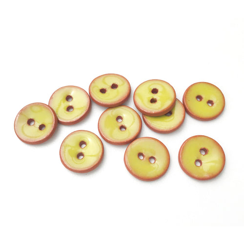 Chartreuse Ceramic Buttons - Small Round Ceramic Buttons - 1/2