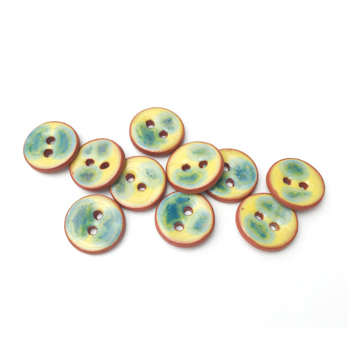 Yellow Ceramic Buttons with a Splash of Blue-green - Small Round Ceramic Buttons - 1/2