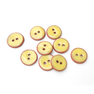 "Yellow Ceramic Buttons - Small Round Ceramic Buttons - 1/2"" -9 Pack"