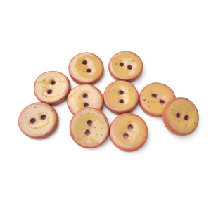 "Mustard Brown Ceramic Buttons - Small Round Ceramic Buttons - 1/2"" - 10 Pack (ws-132)"