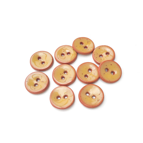Mustard Brown Ceramic Buttons - Small Round Ceramic Buttons - 1/2