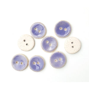 "Light Purple Ceramic Buttons - Small Round Ceramic Buttons - 9/16"" - 8 Pack"
