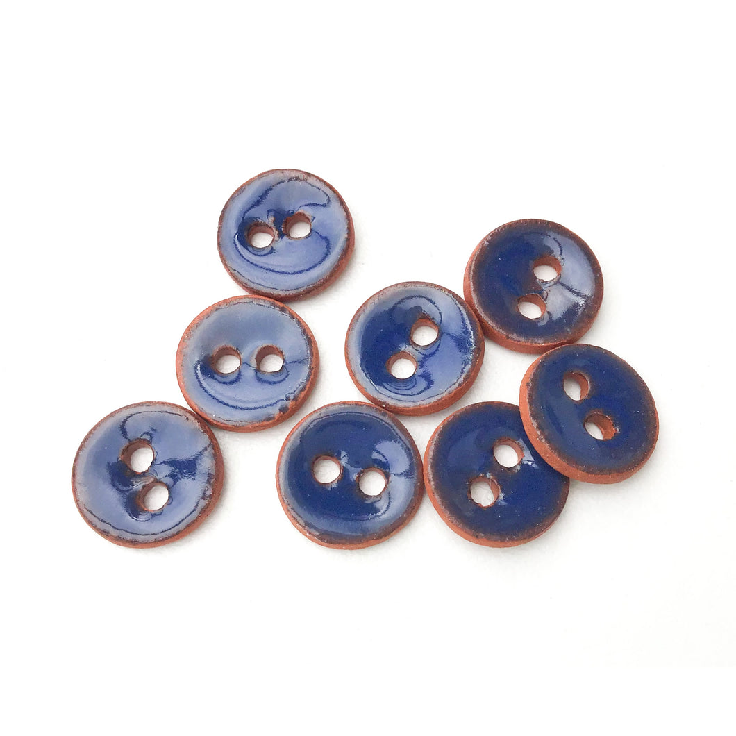 Dark Blue Ceramic Buttons on Red Clay - Small Round Ceramic Buttons - 7/16