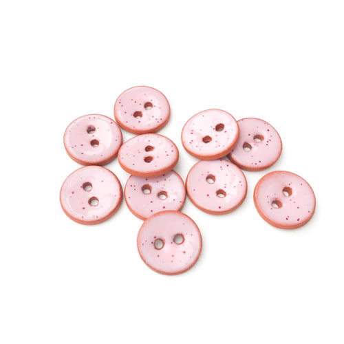 Speckled Pink Ceramic Buttons - Small Round Ceramic Buttons - 1/2