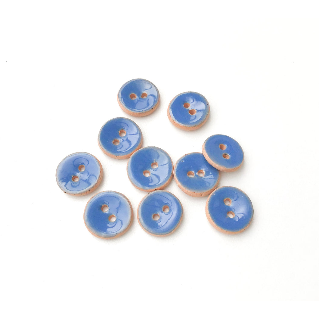 Celadon Blue Ceramic Buttons - Small Round Ceramic Buttons - 7/16