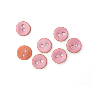 "Earthy Pink Matte Ceramic Buttons on Red Clay - Small Round Ceramic Buttons - 7/16"" -7 Pack"