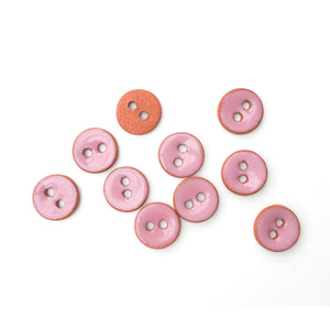 "Earthy Pink Ceramic Buttons on Red Clay - Small Round Ceramic Buttons - 7/16"" -10 Pack"