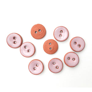 "Light Pink Ceramic Buttons on Red Clay - Small Round Ceramic Buttons - 7/16"" -9 Pack"