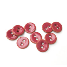 "Load image into Gallery viewer, Ruby Red Ceramic Buttons on Red Clay - Small Round Ceramic Buttons - 7/16"" -9 Pack"