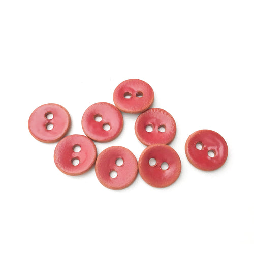 Ruby Red Semi-Matte Ceramic Buttons on Red Clay - Small Round Ceramic Buttons - 7/16