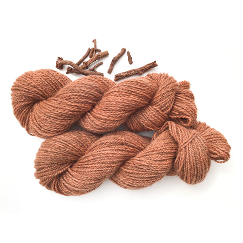 Madder Root Dyed Wool Yarn - Plant Dyed Wool Yarn 2-Ply - Worsted Weight 3.75 oz