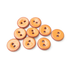 "Load image into Gallery viewer, Cantaloupe Orange Ceramic Buttons on Red Clay - Small Round Ceramic Buttons - 7/16"" -9 Pack"