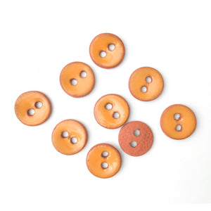 "Cantaloupe Orange Ceramic Buttons on Red Clay - Small Round Ceramic Buttons - 7/16"" -9 Pack (ws-26)"