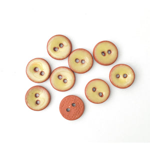 "Soft Yellow Ceramic Buttons on Red Clay - Small Round Ceramic Buttons - 7/16"" -9 Pack"