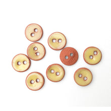 "Load image into Gallery viewer, Soft Yellow Ceramic Buttons on Red Clay - Small Round Ceramic Buttons - 7/16"" -9 Pack"