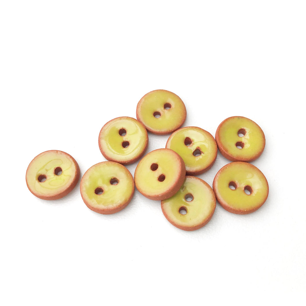 Chartreuse Ceramic Buttons on Red Clay - Small Round Ceramic Buttons - 7/16