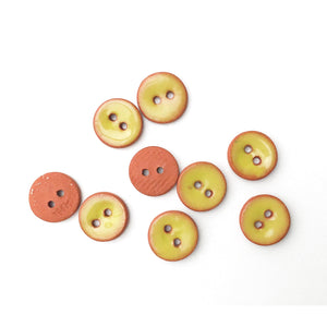"Chartreuse Ceramic Buttons on Red Clay - Small Round Ceramic Buttons - 7/16"" -9 Pack"