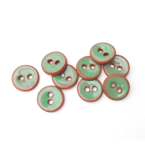 Seafoam Green Ceramic Buttons on Red Clay - Small Round Ceramic Buttons - 7/16