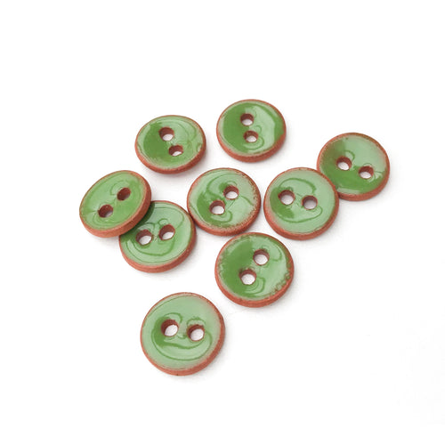 Shamrock Green Ceramic Buttons on Red Clay - Small Round Ceramic Buttons - 7/16