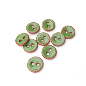 "Shamrock Green Ceramic Buttons on Red Clay - Small Round Ceramic Buttons - 7/16"" -9 Pack"