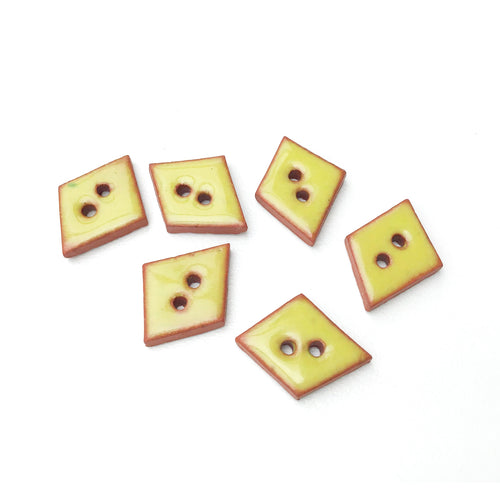 Chartreuse Ceramic Buttons on Red Clay - Small Geometric Ceramic Buttons - 1/2
