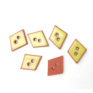 "Chartreuse Ceramic Buttons on Red Clay - Small Geometric Ceramic Buttons - 1/2"" - 6 Pack"