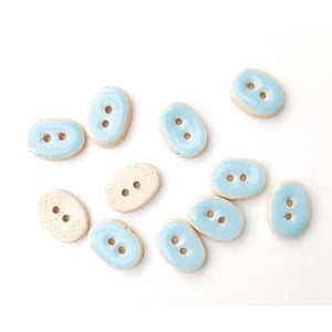 "Light Blue Ceramic Buttons - Small Oval Ceramic Buttons - 3/8"" x 9/16"" - 11 Pack"