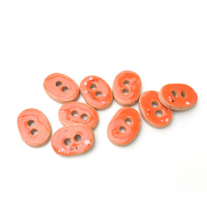 "Speckled Deep Orange Ceramic Buttons - Small Oval Ceramic Buttons - 3/8"" x 9/16"" - 9 Pack (ws-213)"