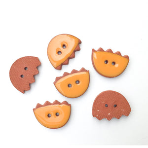 "Cantaloupe Orange Ceramic Buttons - Ceramic Flower Buttons - 11/16"" x 7/8"" - 6 Pack"