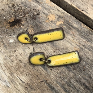 Black Clay + Yellow Ceramic Earrings - Rustic Ceramic Dangle Earrings