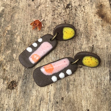 Load image into Gallery viewer, Black Clay Ceramic Earrings with Summery Shades - Rustic Ceramic Dangle Earrings