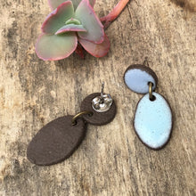 Load image into Gallery viewer, Black Clay Ceramic Earrings in Shades of Blue - Rustic Ceramic Dangle Earrings