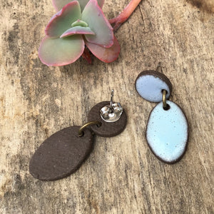 Black Clay Ceramic Earrings in Shades of Blue - Rustic Ceramic Dangle Earrings