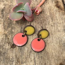 Load image into Gallery viewer, Black Clay Ceramic Earrings in Yellow and Coral - Rustic Ceramic Dangle Earrings