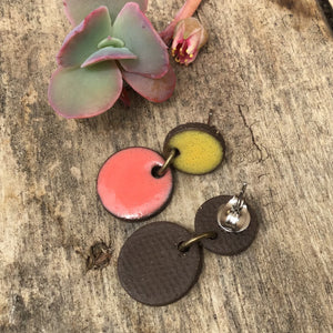 Black Clay Ceramic Earrings in Yellow and Coral - Rustic Ceramic Dangle Earrings