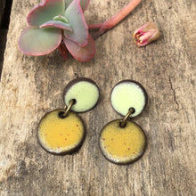 Load image into Gallery viewer, Black Clay Ceramic Earrings in Light Yellow and Speckled Mustard Brown - Rustic Ceramic Dangle Earrings