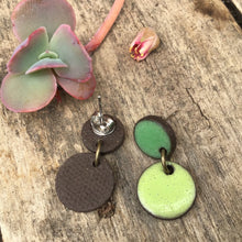 Load image into Gallery viewer, Black Clay Ceramic Earrings in Shamrock and Lime Green - Rustic Ceramic Dangle Earrings