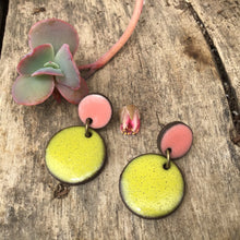 Load image into Gallery viewer, Black Clay Ceramic Earrings in Chartreuse and Coral - Rustic Ceramic Dangle Earrings