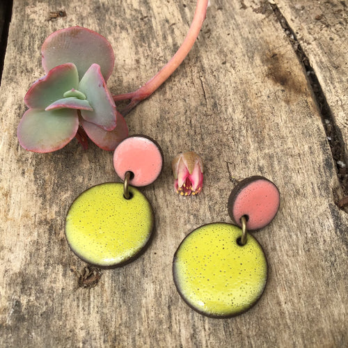 Black Clay Ceramic Earrings in Chartreuse and Coral - Rustic Ceramic Dangle Earrings