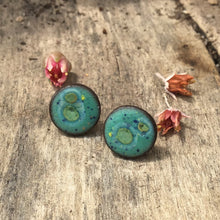 Load image into Gallery viewer, Black Clay Color Splash Ceramic Earrings - Speckled Turquoise - Rustic Ceramic Stud Earrings